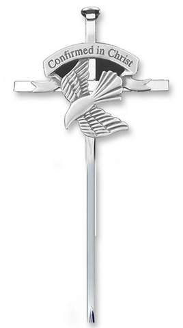 "6-1/2"" Silver Plated Metal Wall Cross with Centered Confirmation Dove"