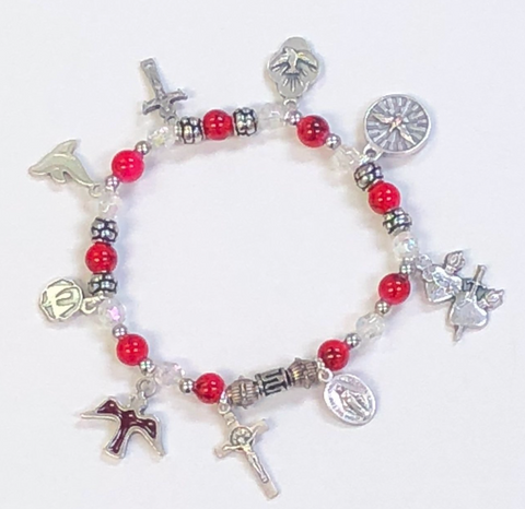 Red Confirmation Stretch Bracelet With Italian Made Charms