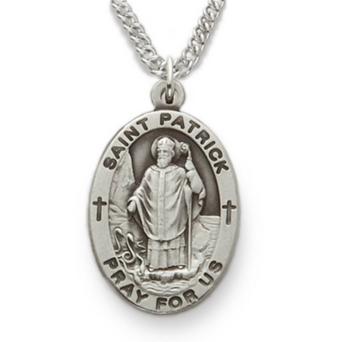 "St. Patrick Sterling Silver Engraved Medal, 24"" Chain"