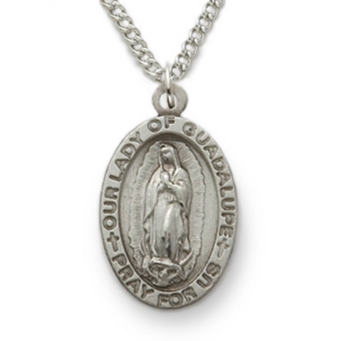 "Our Lady of Guadalupe, Virgin of Guadalupe, Sterling Silver Engraved Medal, 18"" Chain"