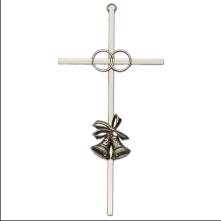 Brass Silver Plated 25th Anniversary Cross