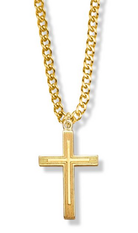 "14K Gold Filled Outlined Inner Cross Necklace, 18"" Chain"
