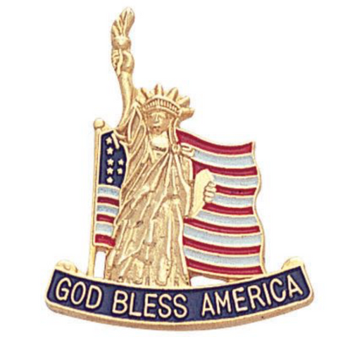 God Bless America Flag/Statue of Liberty Lapel Pin