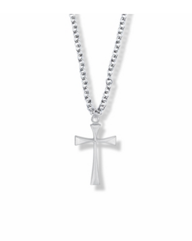 "3/4"" Silver Plated Girl Maltese First Communion Cross Necklace"