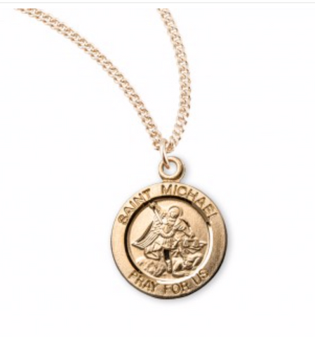 Patron Saint Michael Round Gold Over Sterling Silver Medal