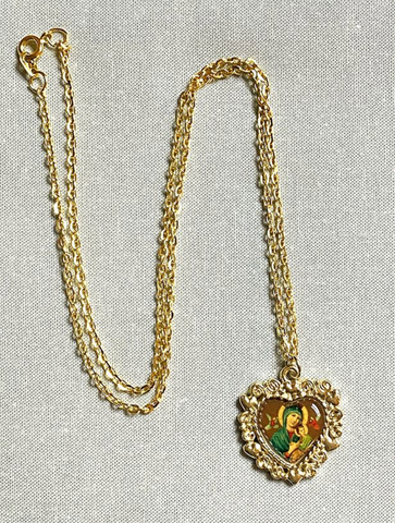 Our Mother of Perpetual Help Heart-Shaped Necklace