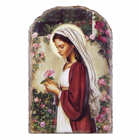 Madonna of The Roses Arched Tile Plaque with Wire Stand