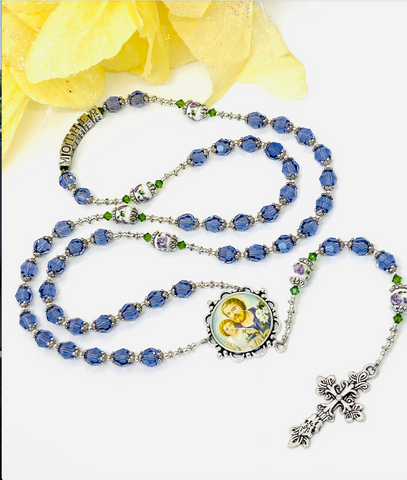 "Swarovski Crystal Lavender ""Mother"" Heirloom Rosary by Lidia"