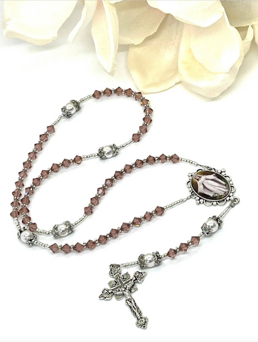 Swarovski Crystal Rose & Pearl Our Lady Heirloom Rosary by Lidia