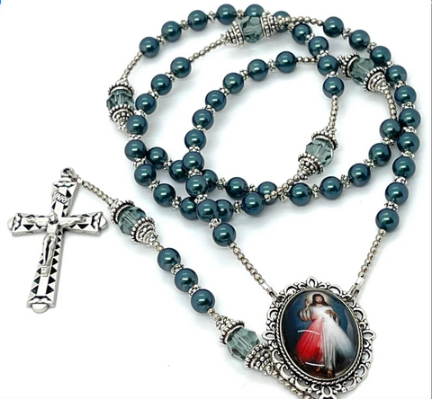 Swarovski Crystal Blue Pearl Divine Mercy Heirloom Rosary by Lydia