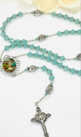 Swarovski Crystal Pacific Opal Holy Family Heirloom Rosary by Lidia
