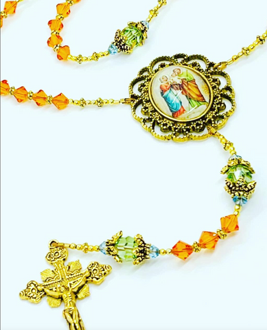 Swarovski Crystal Fire Opal Holy Family Heirloom Rosary by Lidia