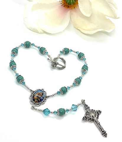 Swarovski Crystal Turquoise Pearl St. Joseph One Decade Heirloom Rosary by Lidia