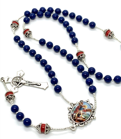Swarovski Crystal Blue Pearl St. Michael Heirloom Rosary by Lydia