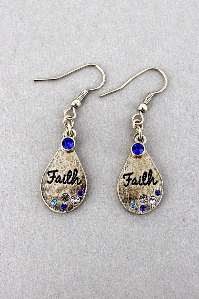 MULTI-COLOR CRYSTAL ACCENTED GOLDTONE 'FAITH' TEARDROP EARRINGS