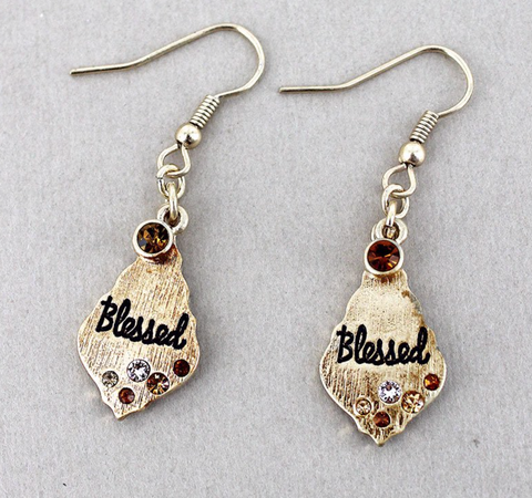 MULTI-COLOR CRYSTAL ACCENTED GOLDTONE 'BLESSED' MOROCCAN TEARDROP EARRINGS
