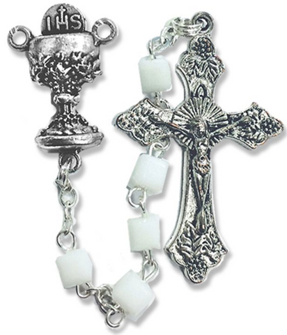 5mm Square White Glass Beads Rosary with Crucifix and Chalice Center