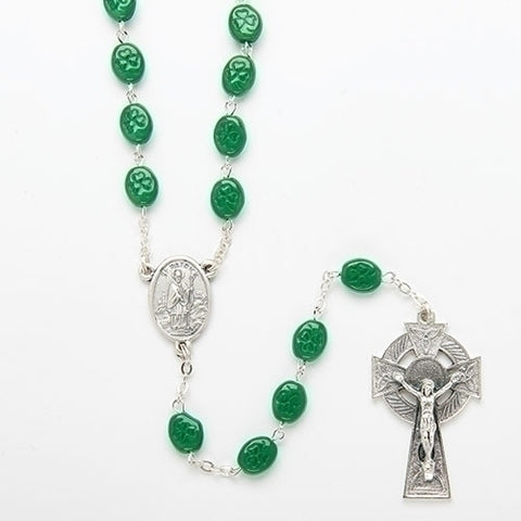 St. Patrick Rosary, green shamrock glass beads, gift boxed