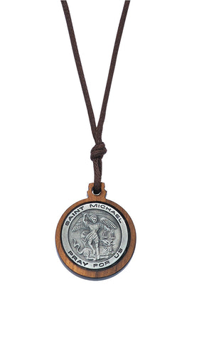 OLIVE WOOD PEWTER ST. MICHAEL MEDAL
