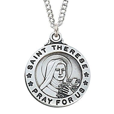 "STERLING SILVER ST. THERESE OF LISIEUX MEDAL,  20"" CHAIN"