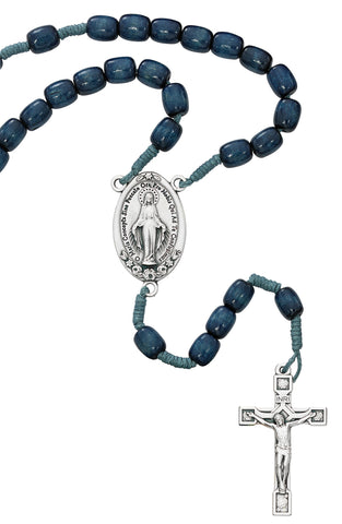 (P367R) LARGE BLUE WOOD MIRAC ROSARY