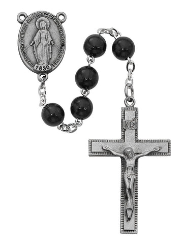 7MM SS BLACK WOOD DELUXE GIFT ROSARY