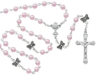 5MM PINK PEARL/BUTTERFLY ROSARY WITH CHALICE CENTERPIECE
