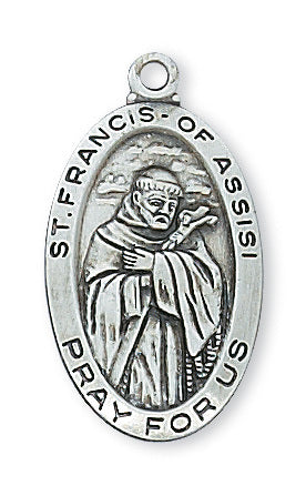 "Sterling Silver St. Francis of Assisi Medal, 18"" chain"