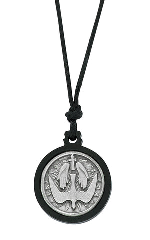 PEWTER BLACK FRAMED HOLY SPIRIT NECKLACE