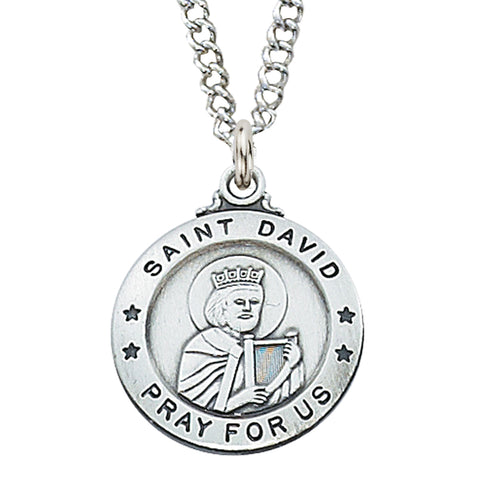 "STERLING SILVER ST. DAVID MEDAL, 20"" CHAIN"