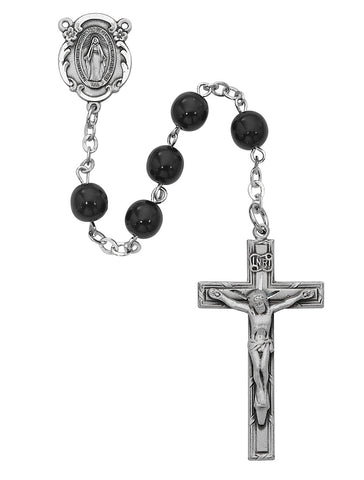 7MM Black Glass Rosary
