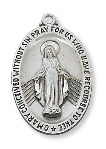 "(L336MI) SS Miraculous Medal, 20"" chain"