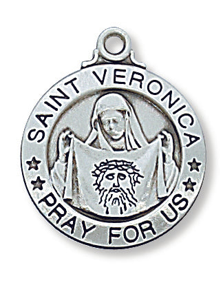"STERLING SILVER ST. VERONICA MEDAL, 20"" CHAIN"