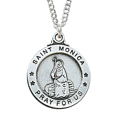 "STERLING SILVER ST. MONICA MEDAL,  20"" CHAIN"