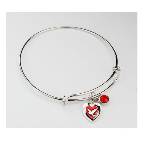 ADULT PEWTER RED ENAMELED HOLY SPIRIT BANGLE