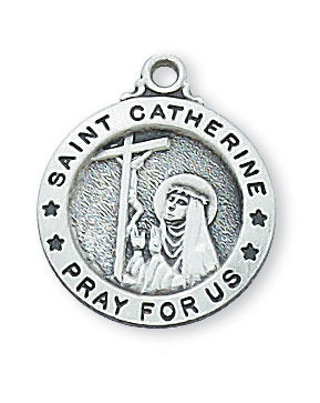 "STERLING SILVER ST. CATHERINE OF SIENA MEDAL, 18"" CHAIN"