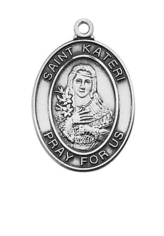 "STERLING SILVER ST. KATERI MEDAL, 18"" CHAIN"