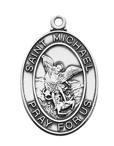 "STERLING SILVER ST. MICHAEL MEDAL WITH 24"" CHAIN"