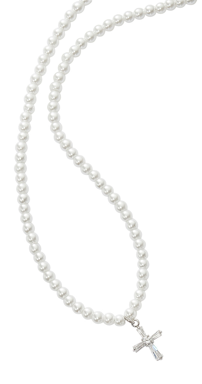 "16"" PEARL & CRYSTAL CROSS NECKLACE"