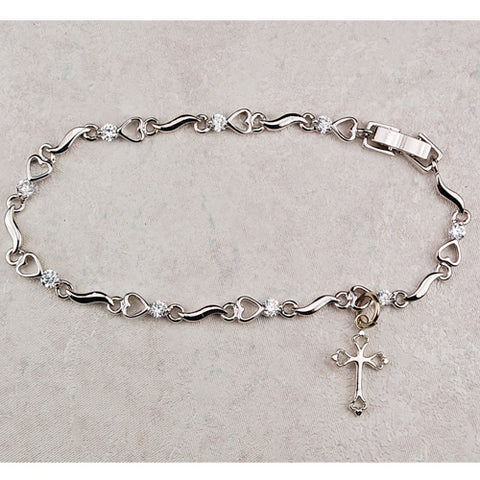 "7 1/2"" Cubic Zirconia Heart Bracelet with Cross - Youth"