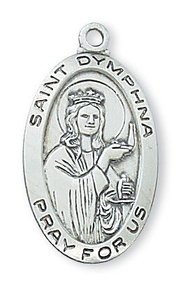 "STERLING SILVER ST. DYMPHNA MEDAL, 18"" CHAIN"