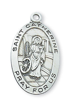 "STERLING SILVER ST. CATHERINE OF ALEXANDRIA MEDAL, 18"" CHAIN"