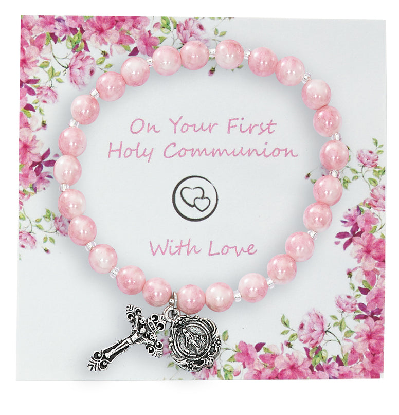 6MM PINK SWIRL STRETCH HOLY COMMUNION BRACELET