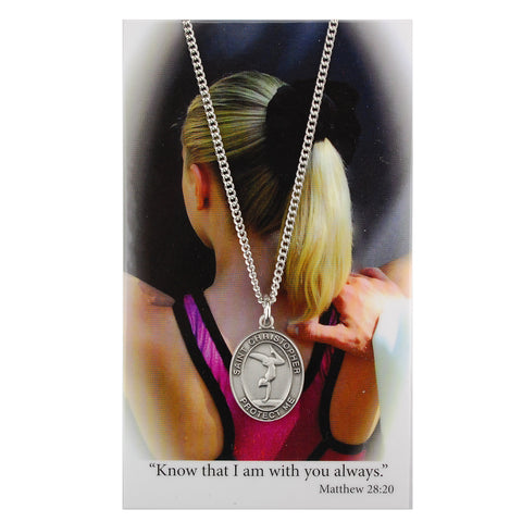GIRLS GYMNASTICS MEDAL & PRAYER CARD SET