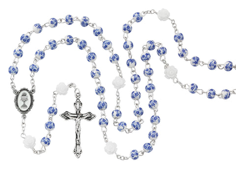 BLUE FLOWER CERAMIC ROSARY WITH CHALICE CENTER