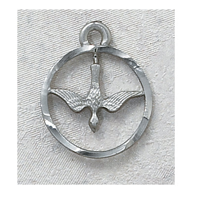 "PEWTER HOLY SPIRIT MEDAL, 18"" CHAIN"