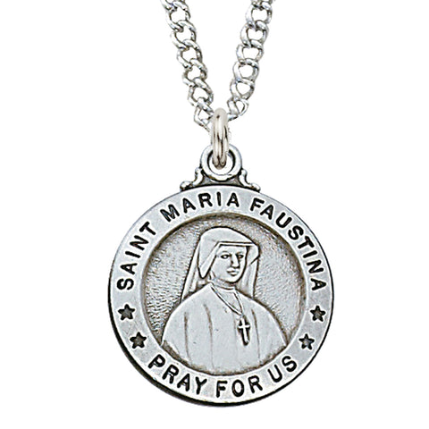 "STERLING SILVER ST. MARIA FAUSTINA MEDAL, 18"" CHAIN"
