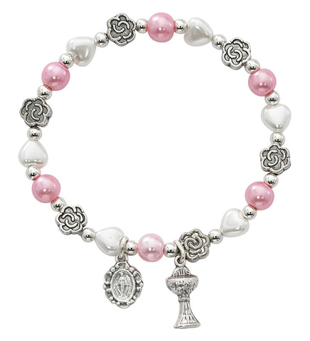 WHITE HEART & PINK PEARL FIRST COMM STRETCH BRACELET