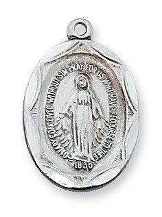"(L1603MI) SS Miraculous Medal with 18"" chain"