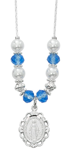 "(NK168C) 18""-20"" BLUE & PEARL NECKLACE"